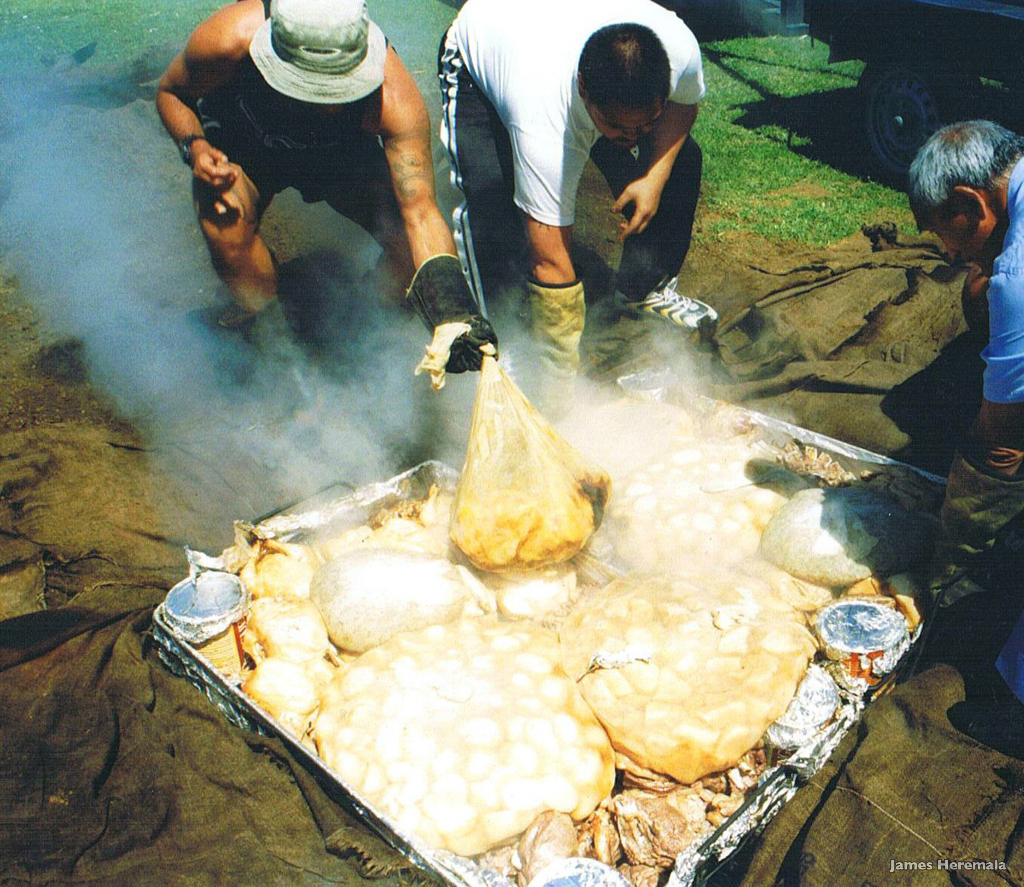 Hangi. Food cooked underground by James Heremaia